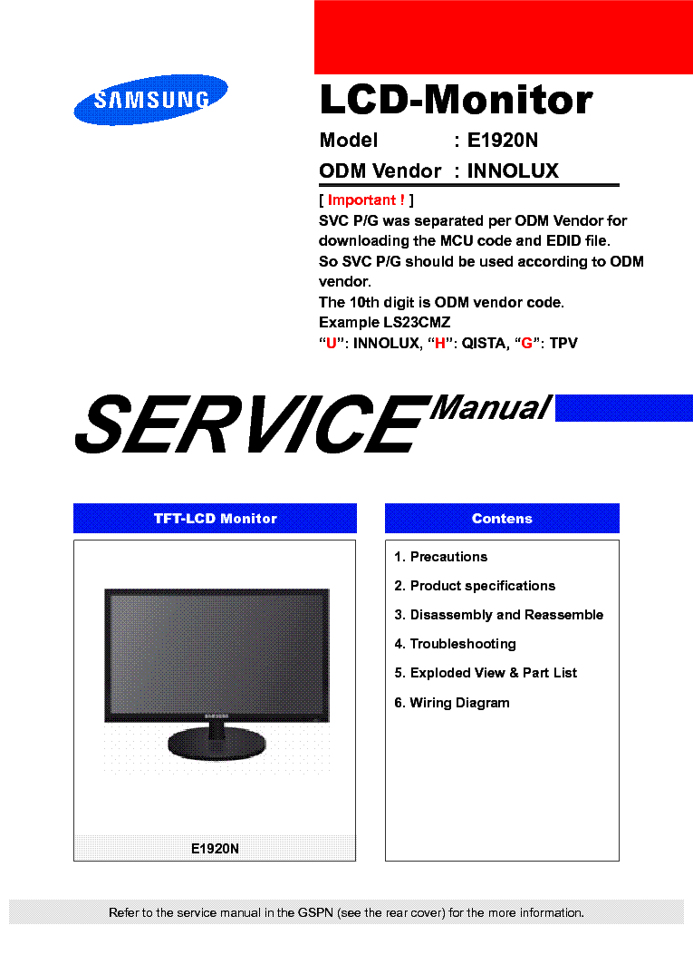 hight resolution of samsung ls19clysbuen e1920n lcd monitor service manual 1st page