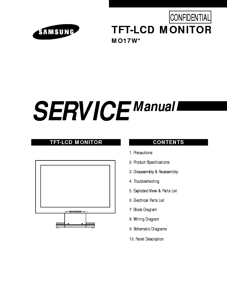 SAMSUNG MO17W Service Manual download, schematics, eeprom