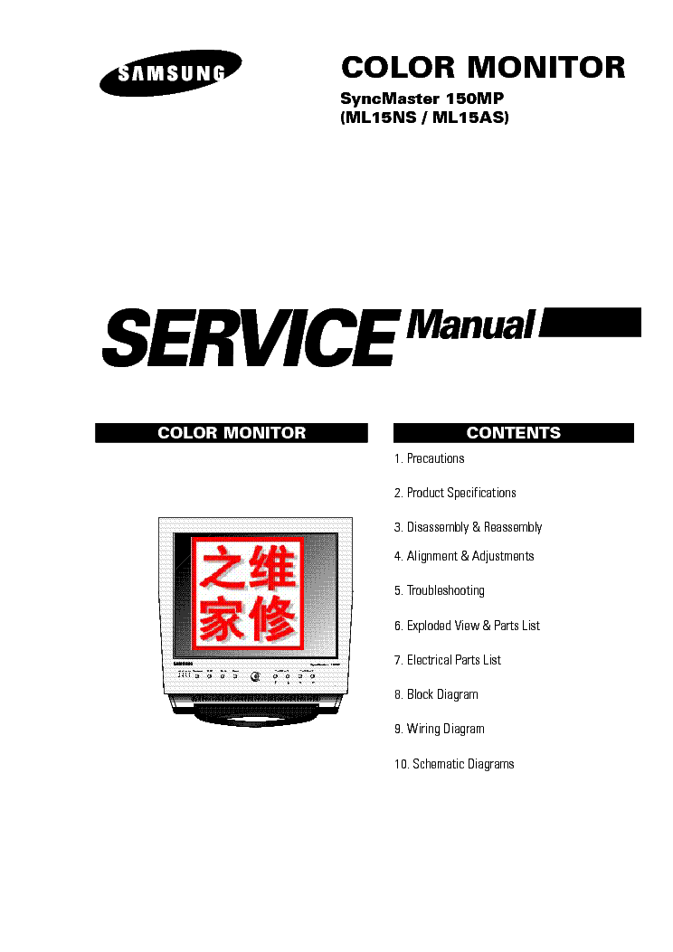 SAMSUNG SYNCMASTER 150MP ML15NS AS Service Manual download