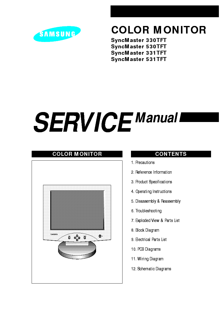 SAMSUNG SYNCMASTER 330 331 530 531TFT Service Manual