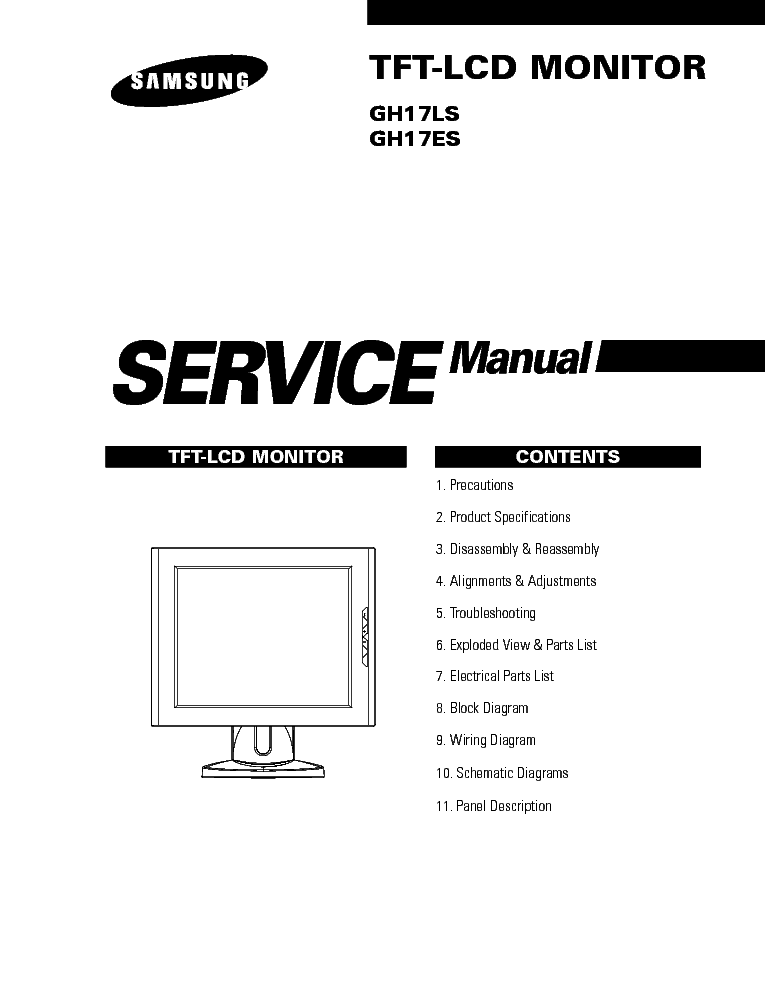 SAMSUNG TFT MONITOR GH17LS Service Manual download