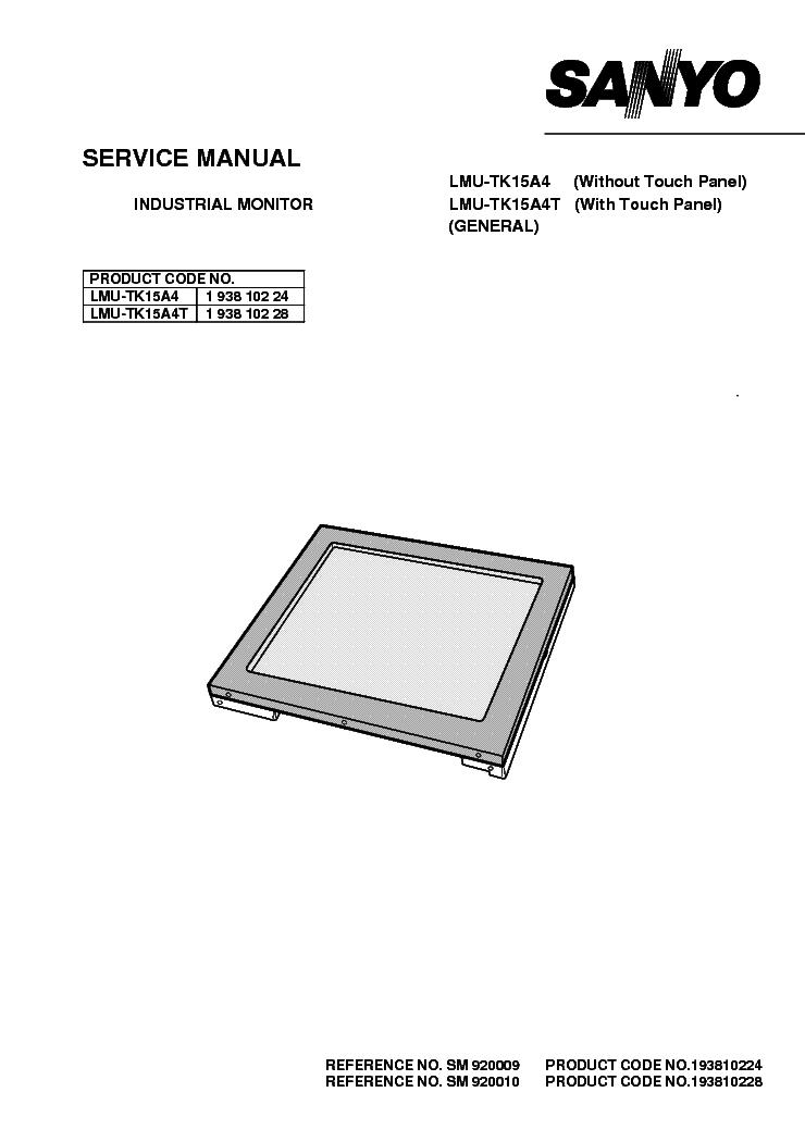 SANYO LMU-TK15A4-T Service Manual download, schematics