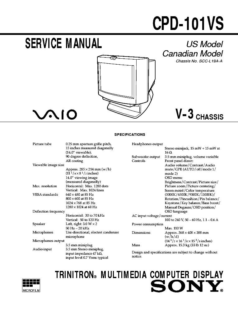 SONY XVM-F65 V1.0 Service Manual free download, schematics