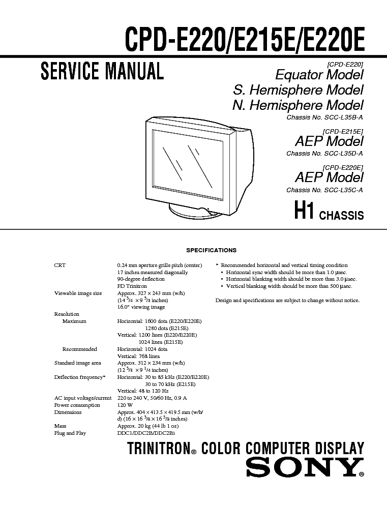 SONY CPD-E215,220 CH H1 Service Manual download