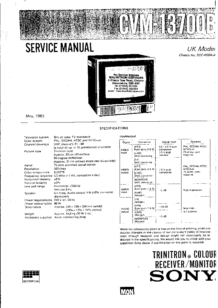 SONY CVM-13700B MULTISTANDARD TV MONITOR Service Manual