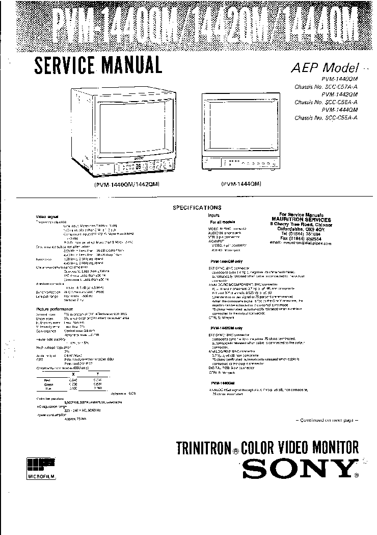 SONY PVM-1440QM Service Manual download, schematics