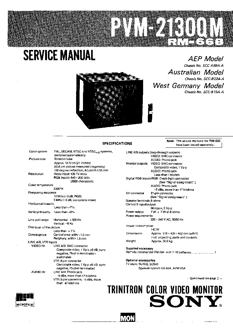 SONY PVM-2130QM CRT VIDEO MONITOR Service Manual download