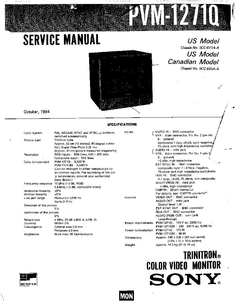 SONY PVM1271Q Service Manual download, schematics, eeprom