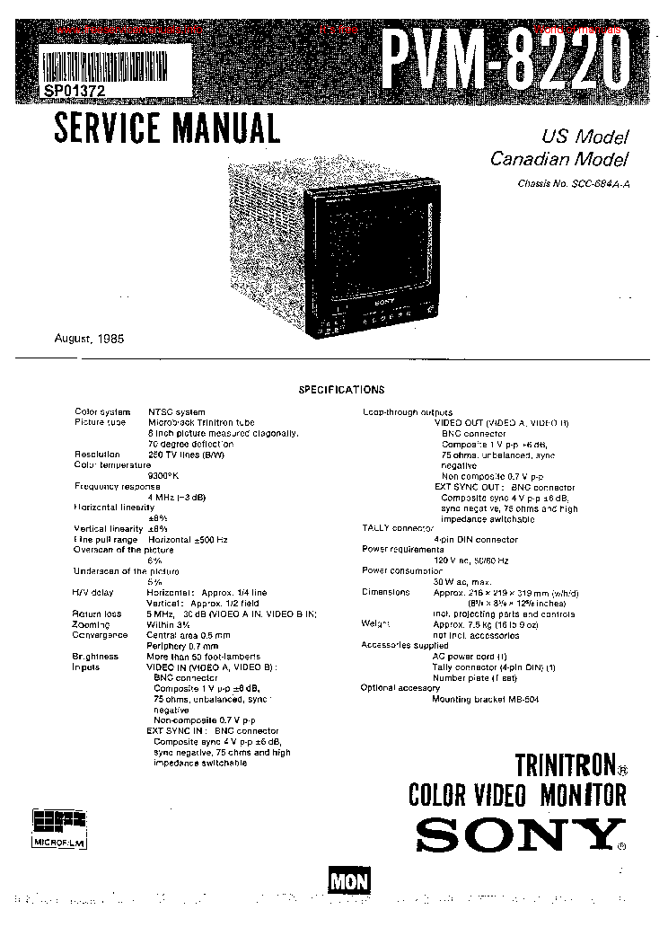 SONY PVM 8220 Service Manual download, schematics, eeprom