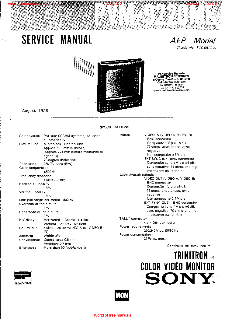 SONY PVM 9220ME Service Manual download, schematics