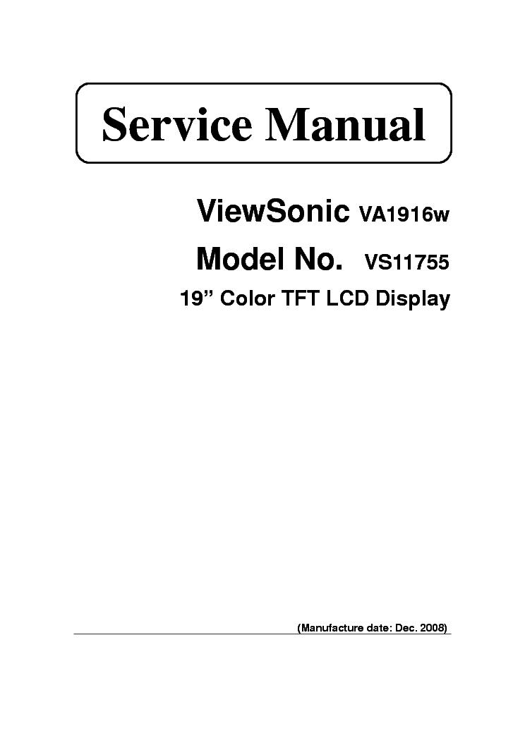 VIEWSONIC VA1916W SM Service Manual download, schematics