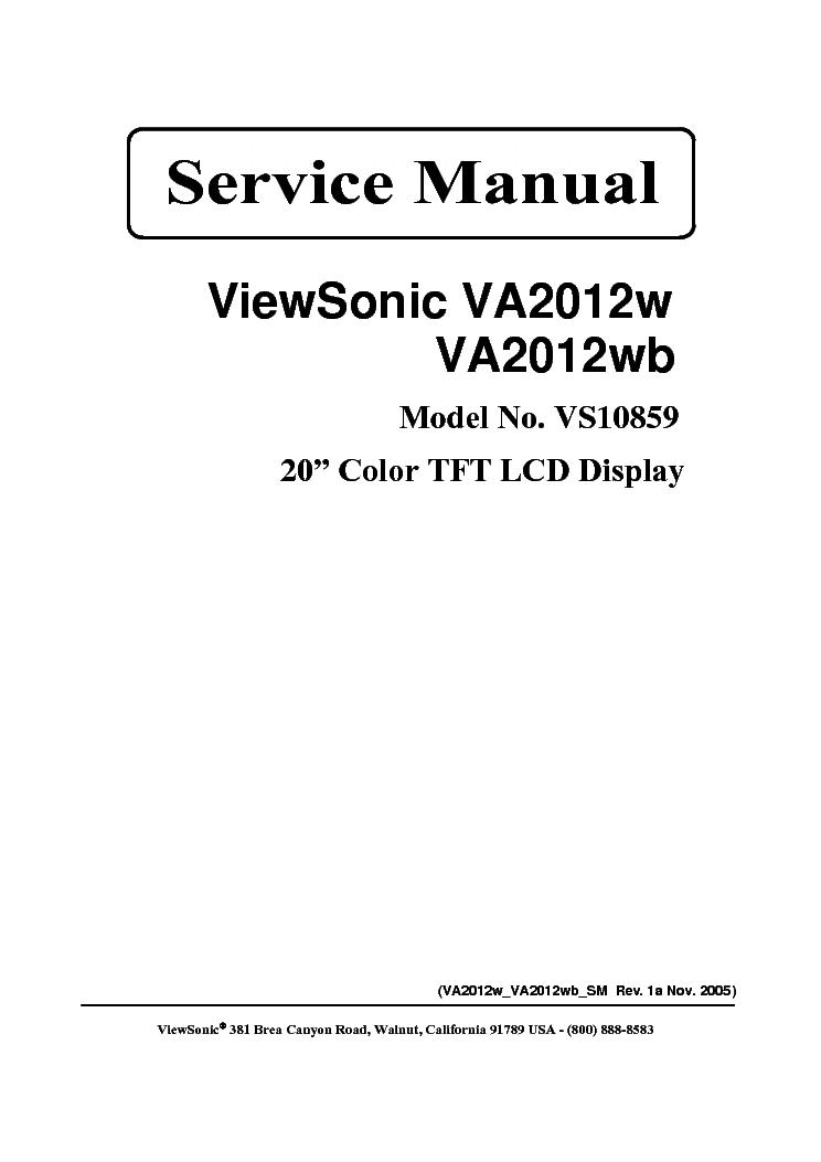 VIEWSONIC VA2012W VA2012WB SM REV1A Service Manual