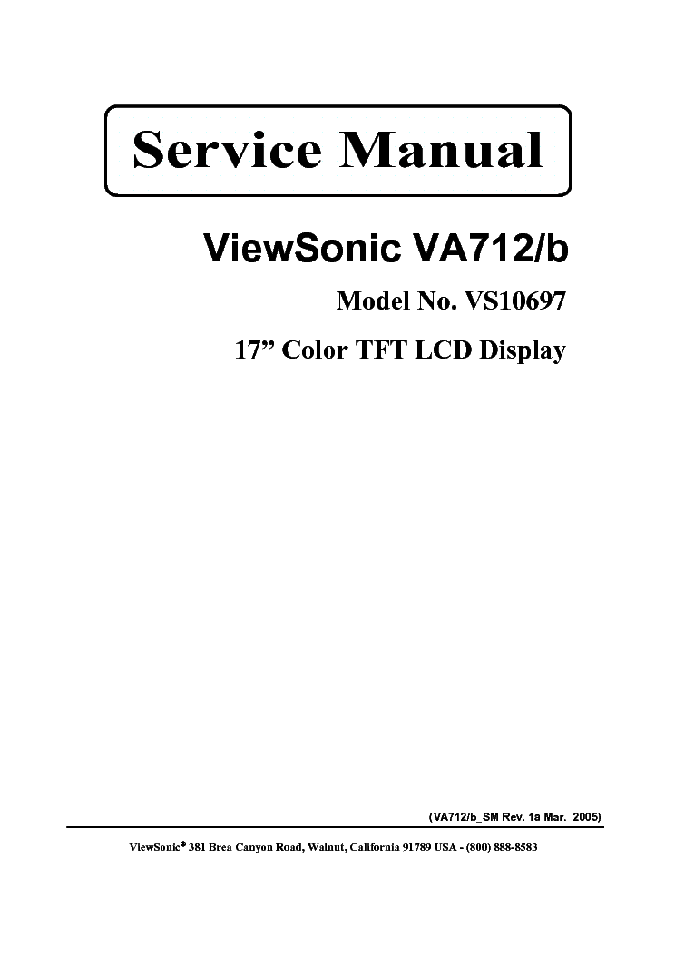 VIEWSONIC VA712-B-VS10697- Service Manual download