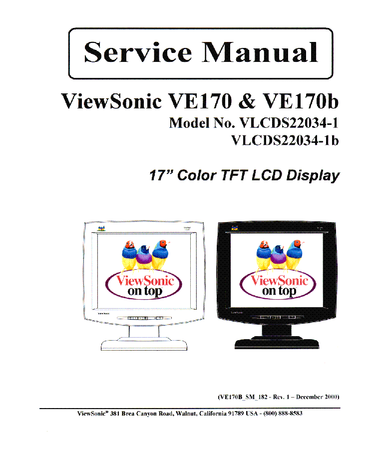 VIEWSONIC VE170 VE170B-1 SM 1A Service Manual download