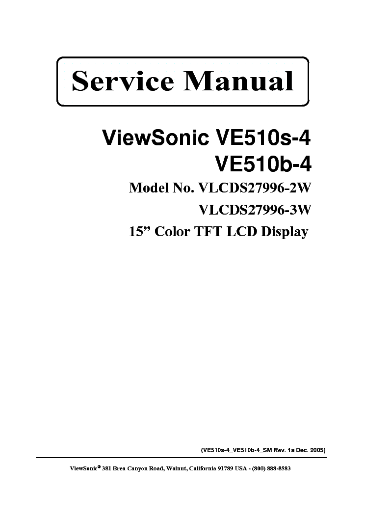 VIEWSONIC VE510S-B-1-VS10040- Service Manual free download