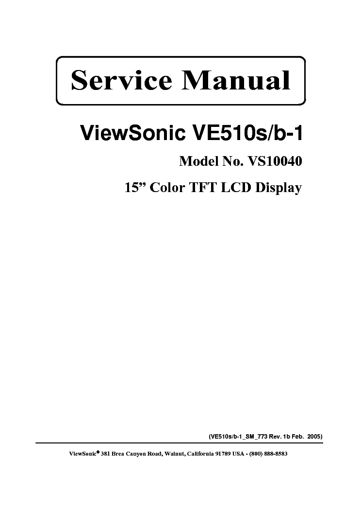 VIEWSONIC VE510S-B-1-VS10040- Service Manual download