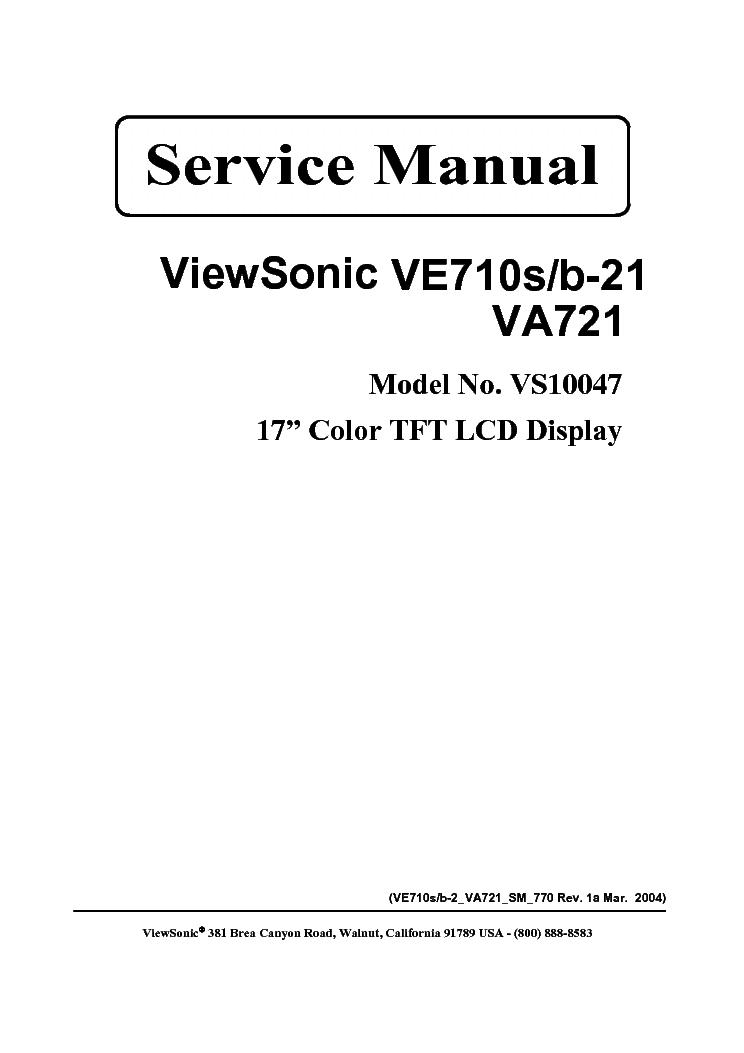 VIEWSONIC VE710S-2 SM 1A Service Manual download