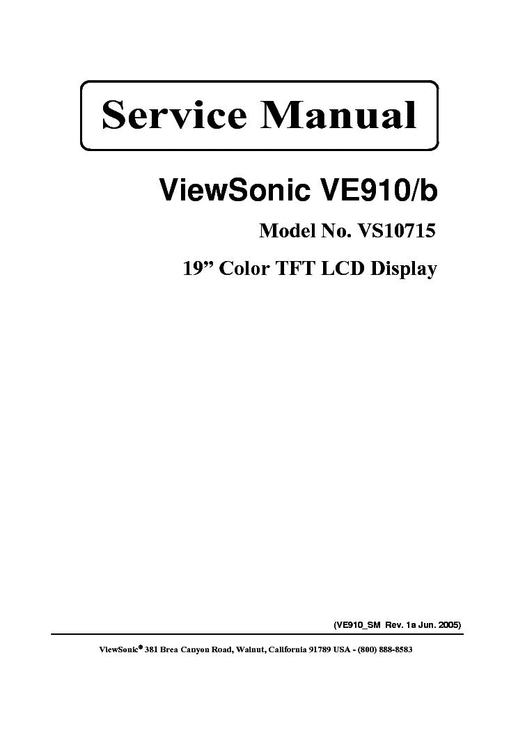 VIEWSONIC VE910-1 VE910B-1 SM 1A Service Manual download