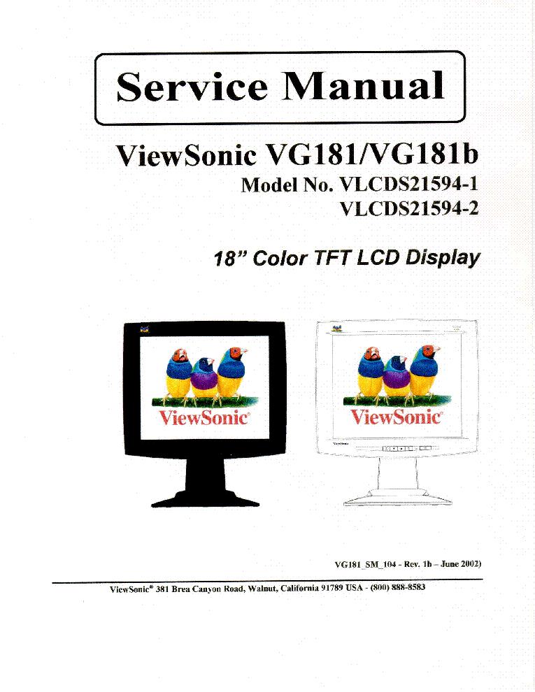 VIEWSONIC VG181 VG181B-VLCDS21594-1 VLCDS21594-2- Service