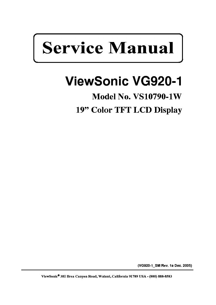 VIEWSONIC VG920-1-VS10790-1W- Service Manual download
