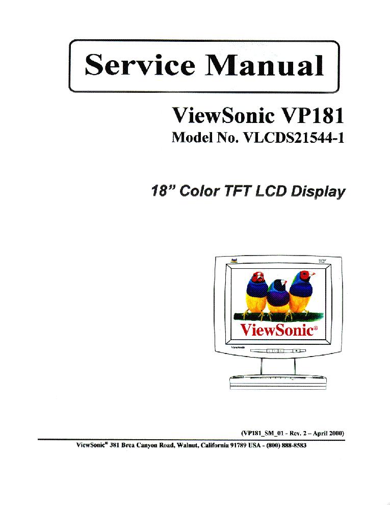 VIEWSONIC VG700B-2-VLCDS24606-1W- Service Manual free