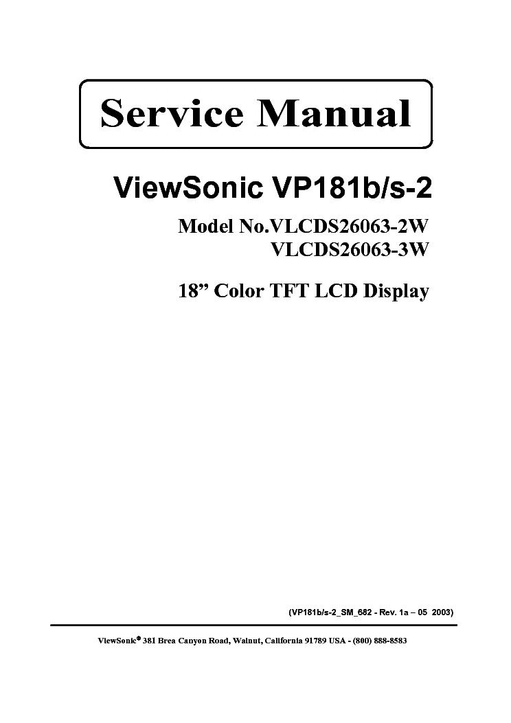 VIEWSONIC VP181B S-2 SM 1A Service Manual download