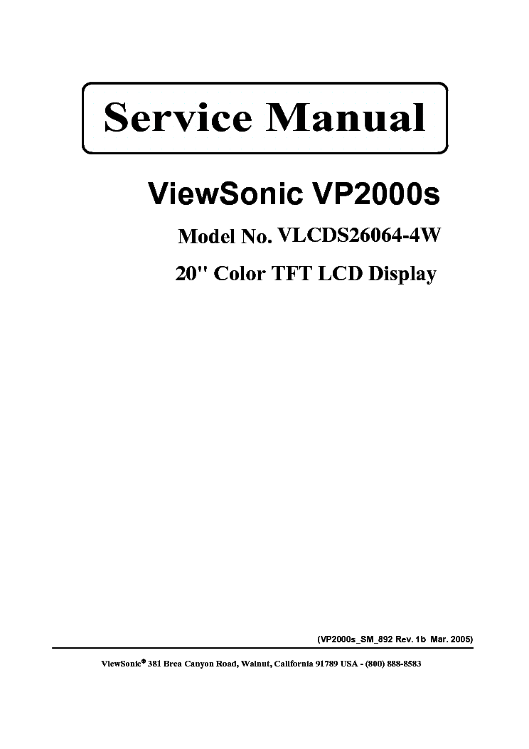 VIEWSONIC VP2000S-VLCDS26064-4W- Service Manual download