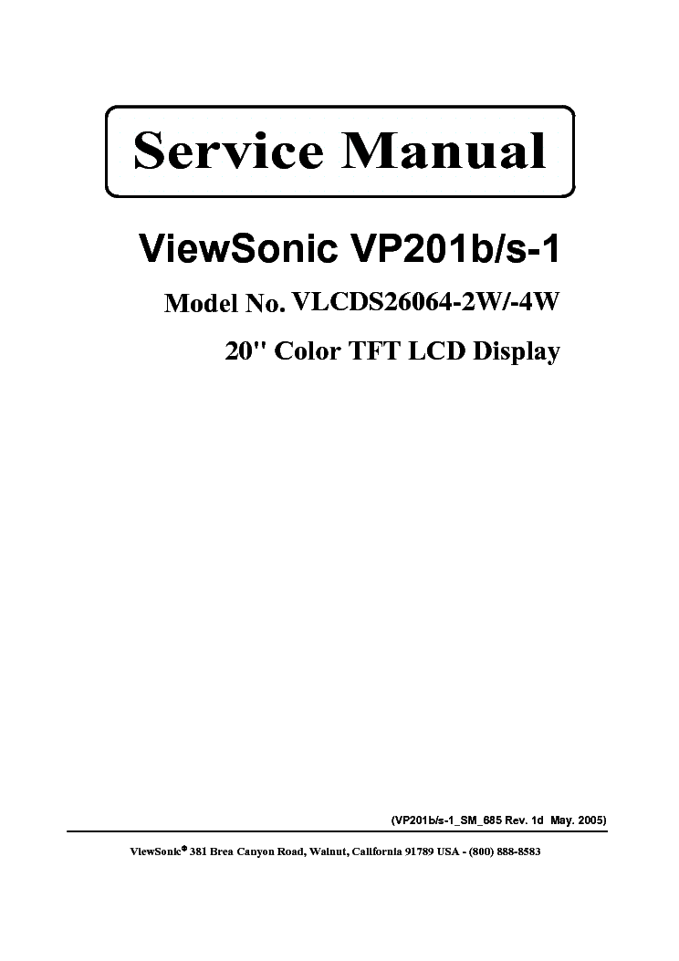 VIEWSONIC VP201B-S-1-VLCDS26064-2W-4W- Service Manual