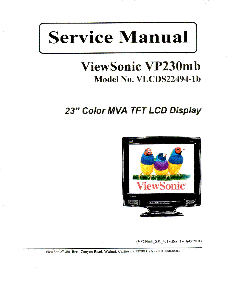 VIEWSONIC VP230MB VLCDS22494-1B Service Manual download