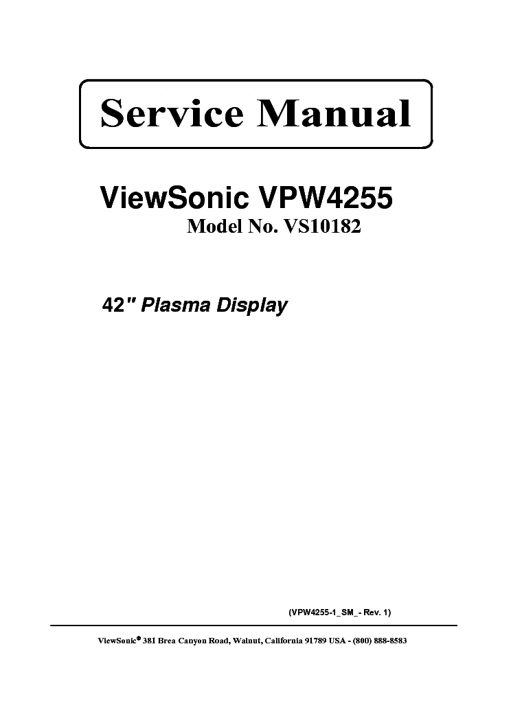 VIEWSONIC VPW4255 VS10182 Service Manual download