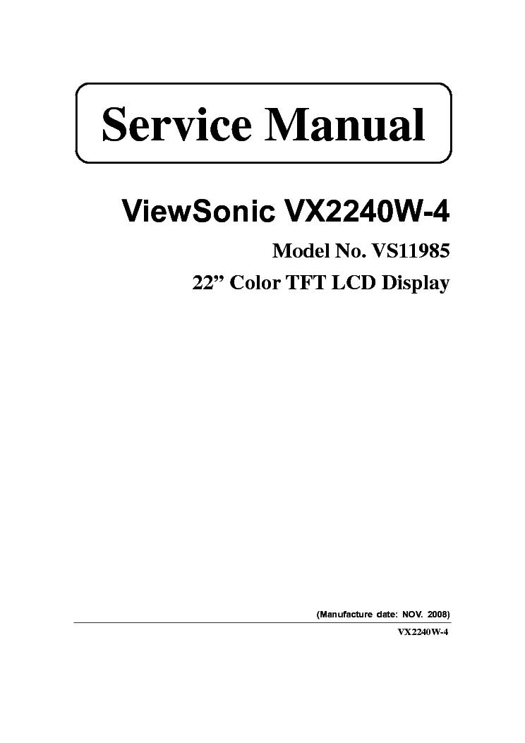 VIEWSONIC VX2240W-4 SERVICE MANUAL Service Manual download