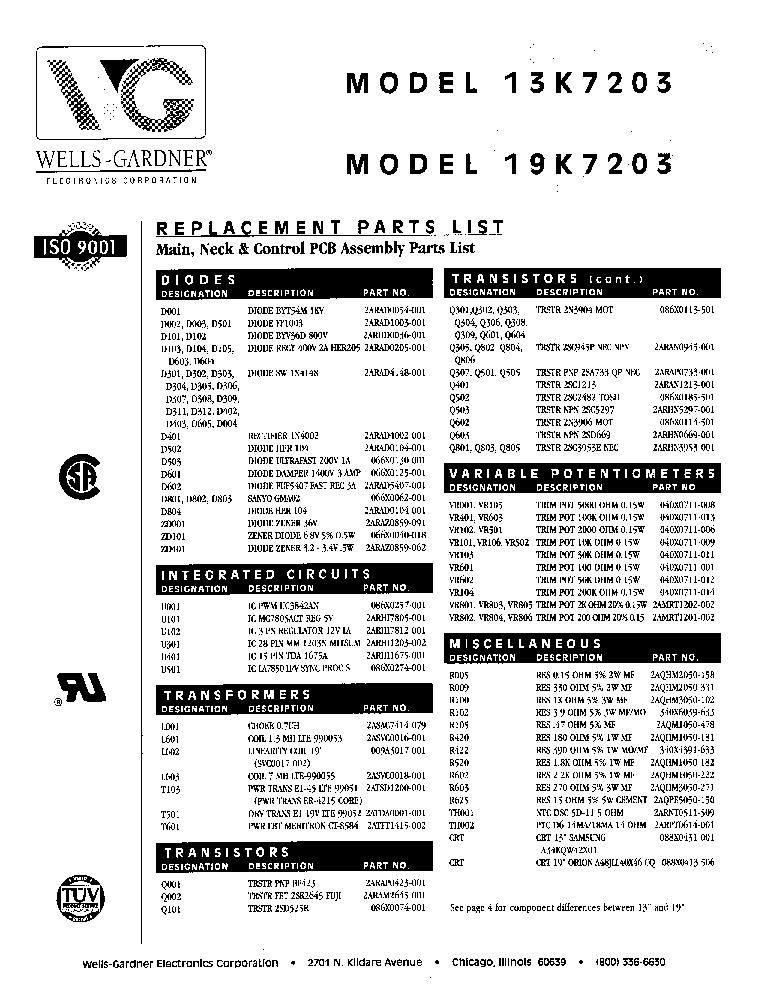 WELLS GARDNER 13-19K7200 SCH Service Manual download