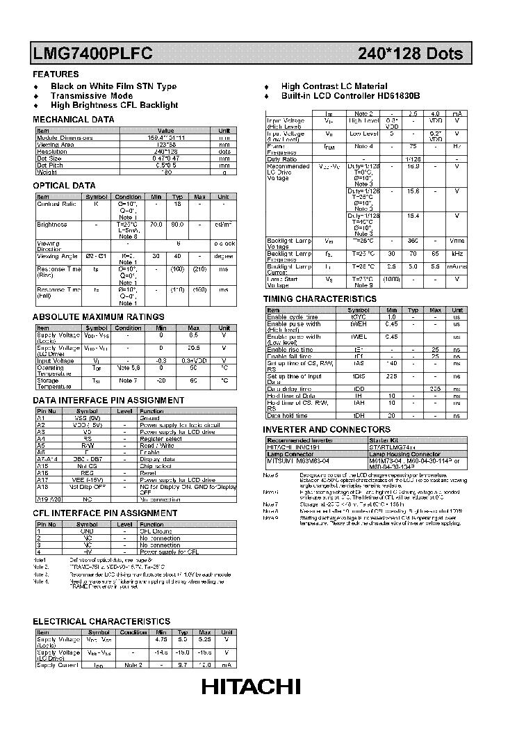 HITACHI LMG7400PLFC LCDPANEL DATASHEET Service Manual