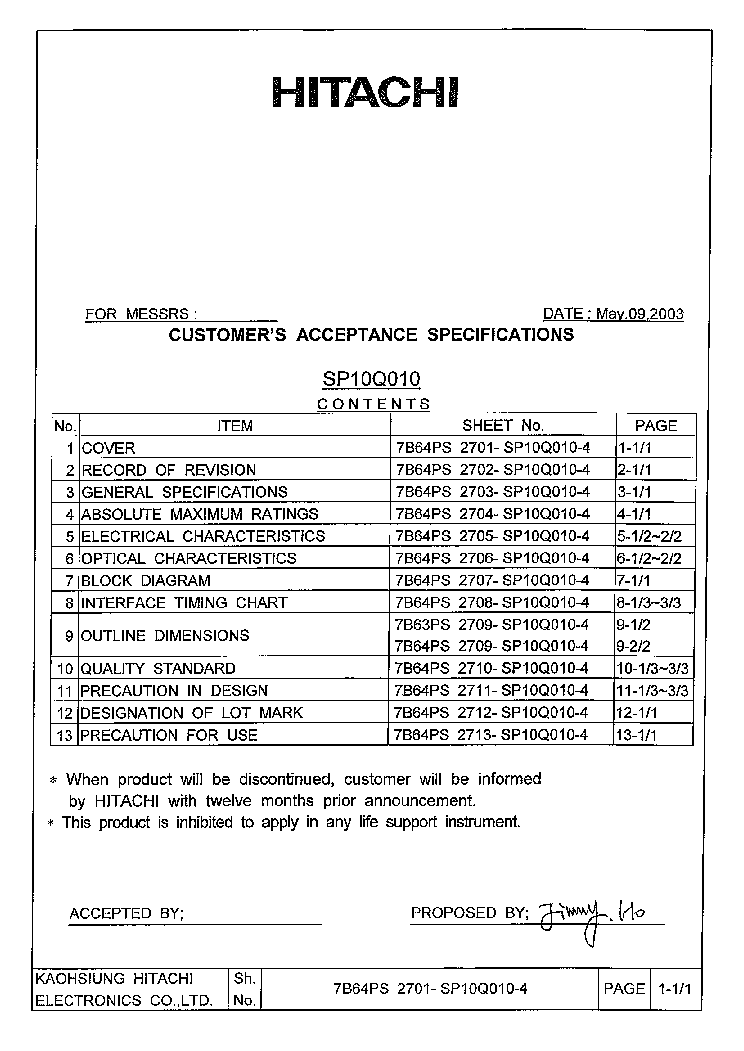 HITACHI LMG6402PLFR LCDPANEL DATASHEET Service Manual