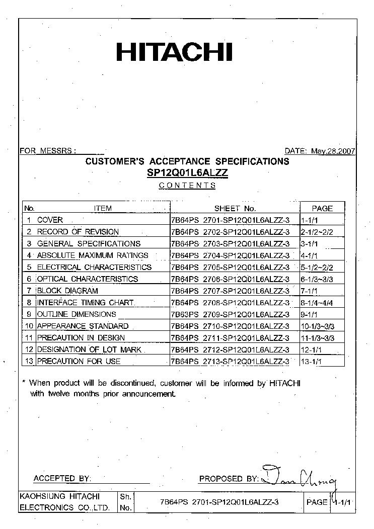 HITACHI SP14N003 LCDPANEL DATASHEET Service Manual