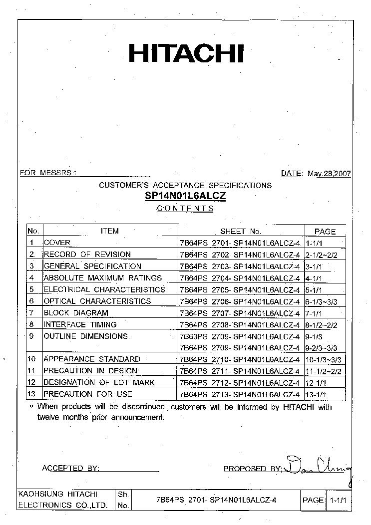 HITACHI SP14N01L6ALCZ LCDPANEL DATASHEET Service Manual