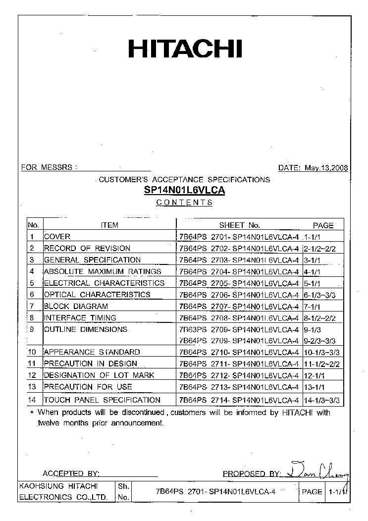 HITACHI SP14Q002-C1 LCDPANEL DATASHEET Service Manual