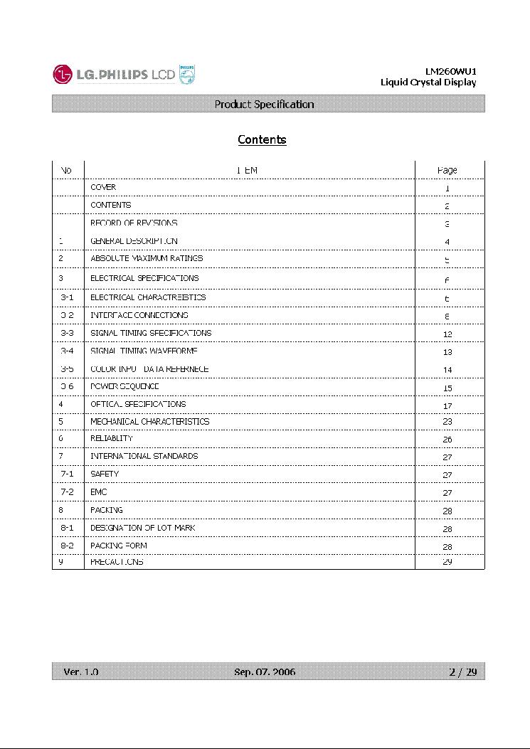 LG.PHILIPS LM260WU1 LCDPANEL DATASHEET Service Manual