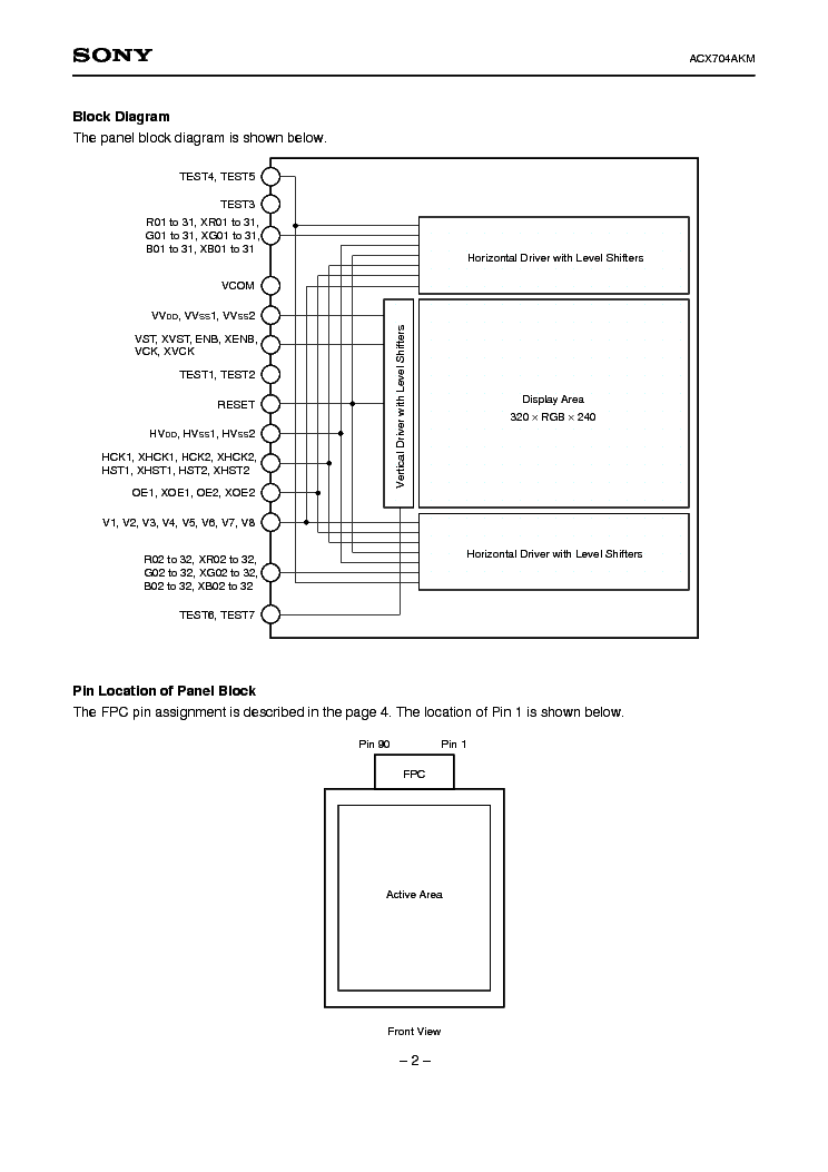 SONY ACX704AKM-7 LCDPANEL DATASHEET Service Manual