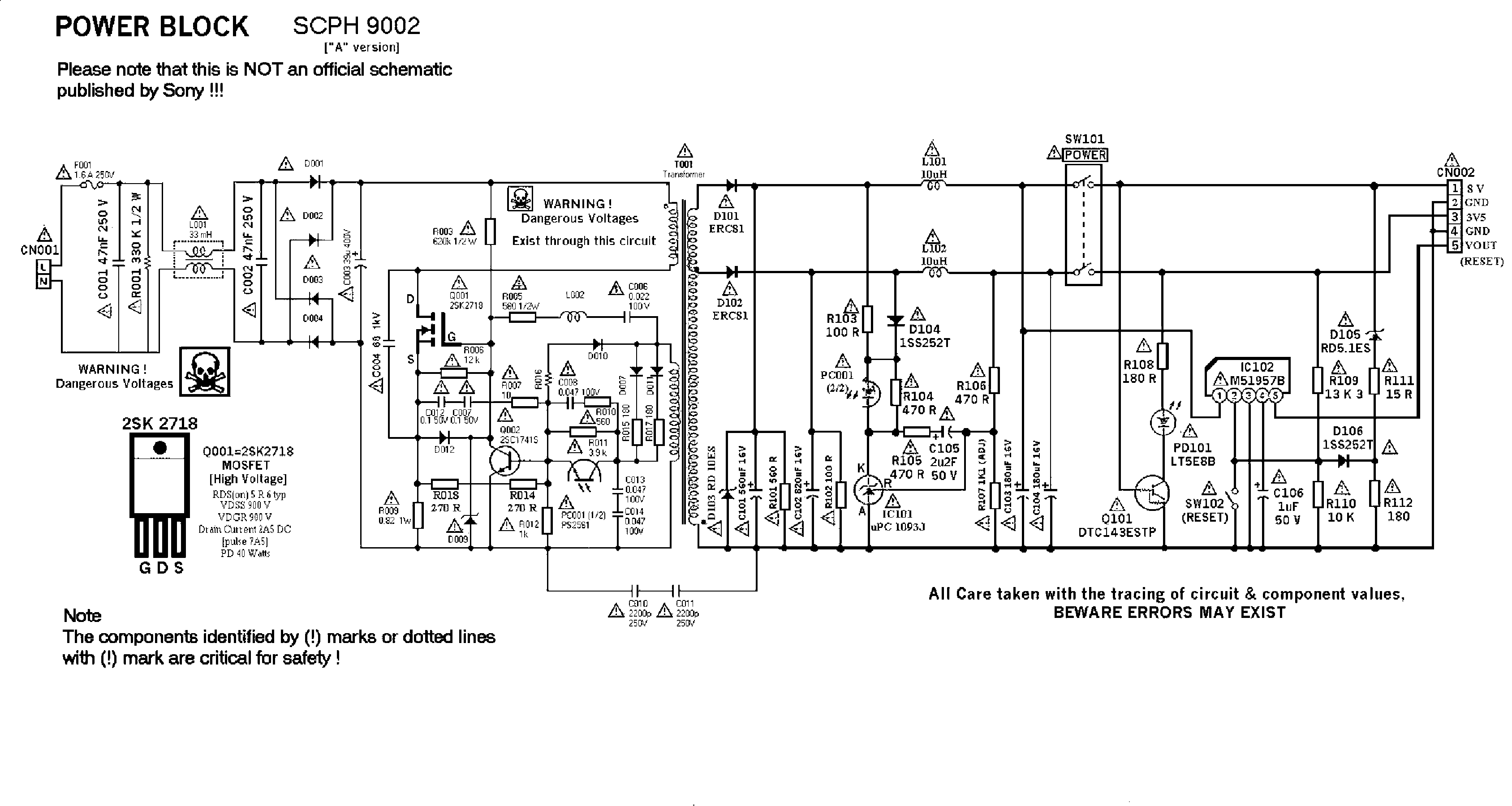 SONY SCPH9002 SURSA Service Manual download, schematics