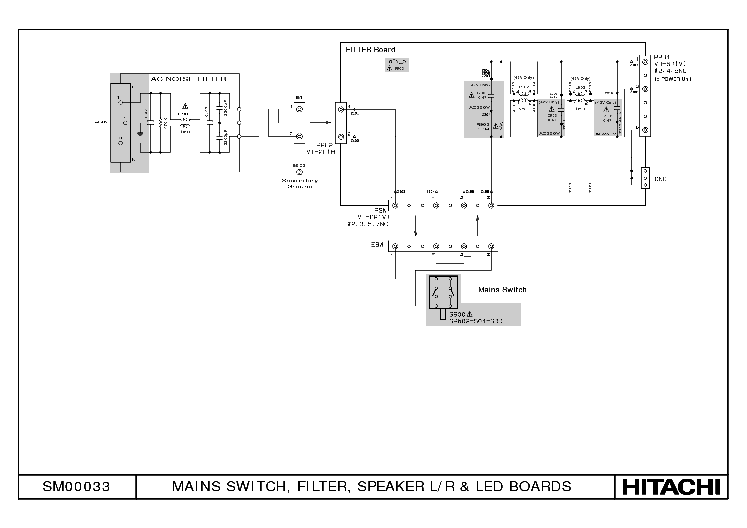 HITACHI AV3000E POWER SCHEMATIC SCH Service Manual