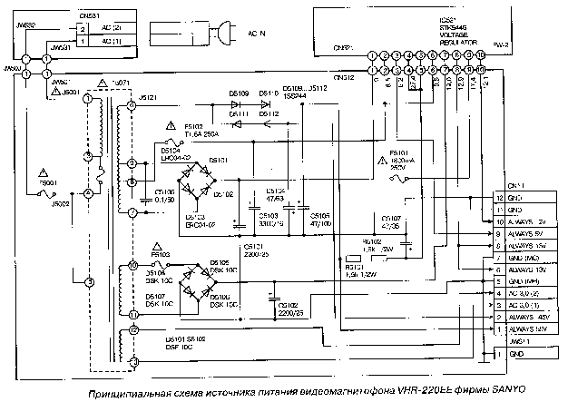 SANYO CEM2130 POWER-SUPPLY SCH Service Manual download