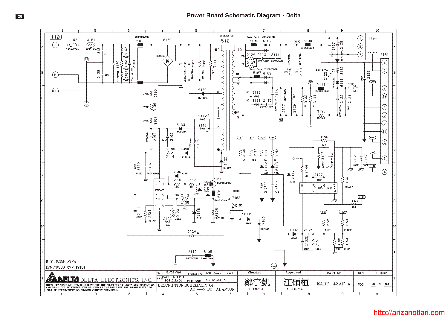DELTA EADP-43AF POWER SUPPLY SCH Service Manual download