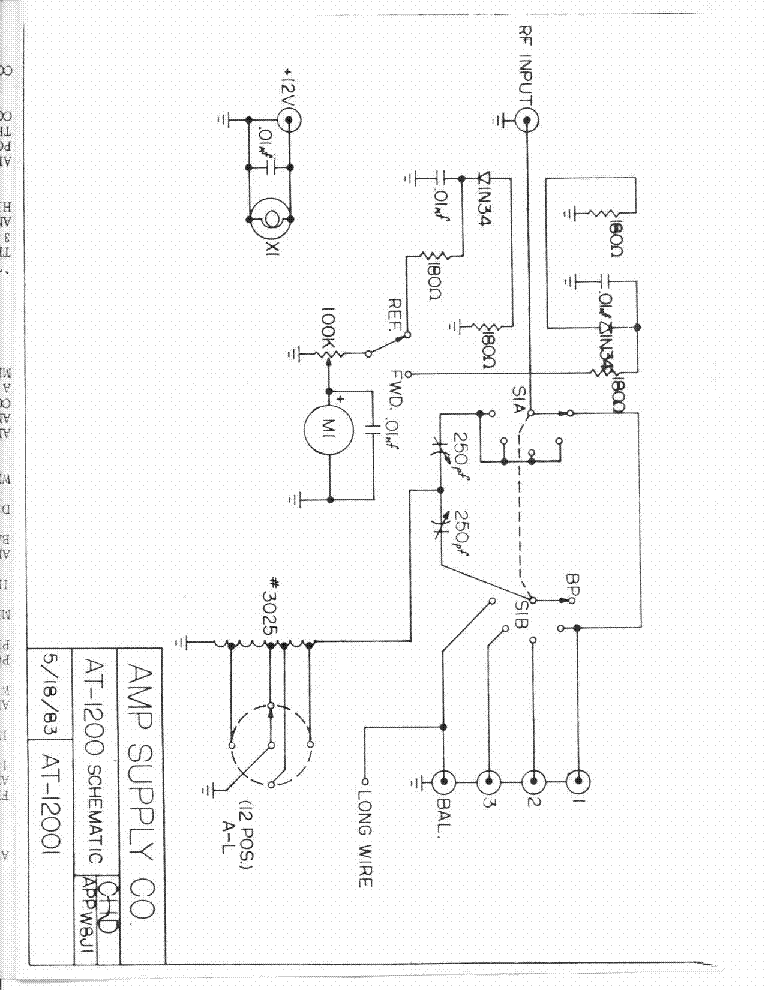 AMP SUPPLY AT1200 INF Service Manual download, schematics
