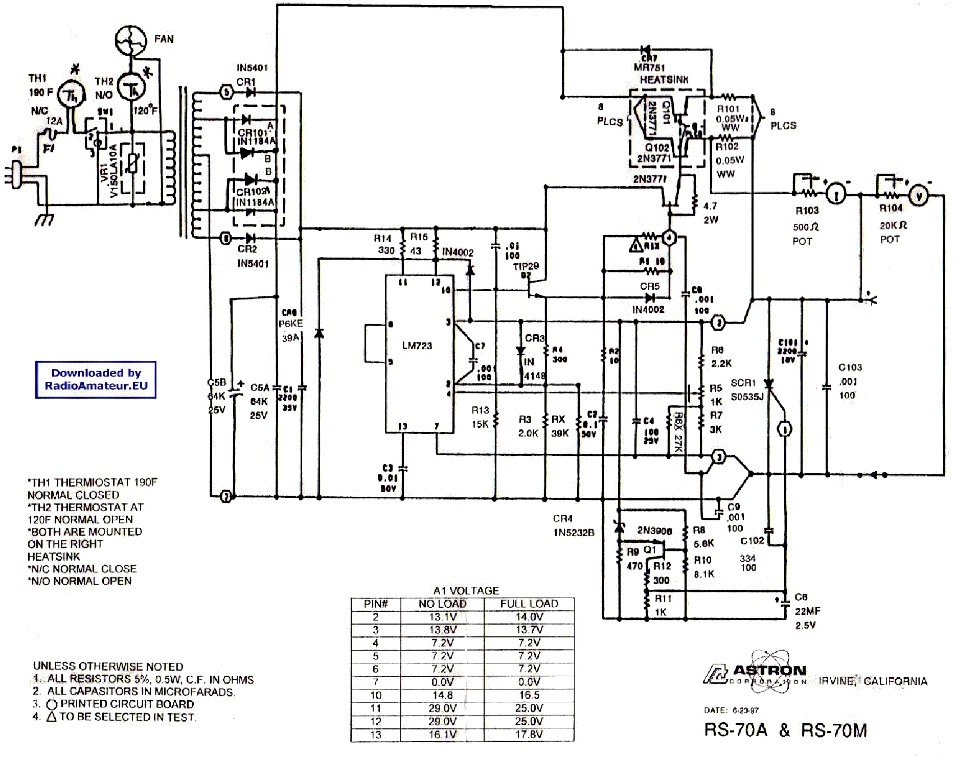 ASTRON RS-70M SCH Service Manual download, schematics