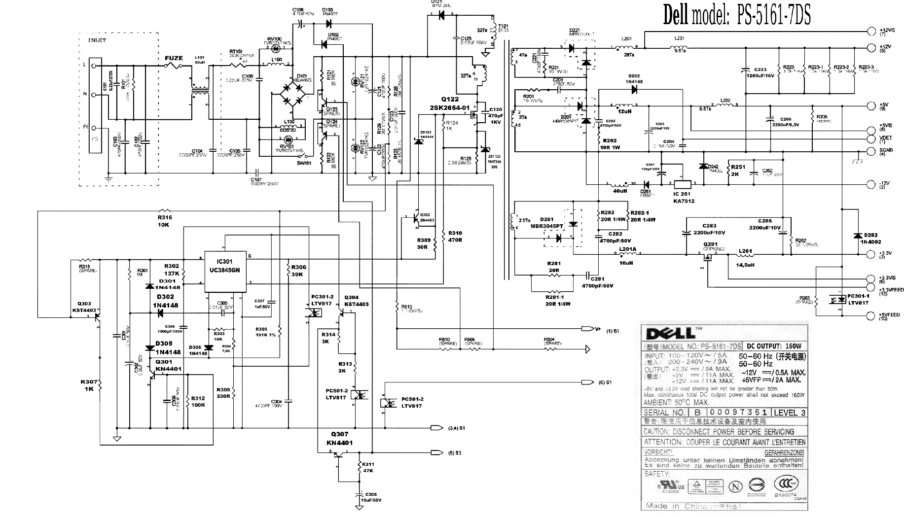 DELL PS-5161 7DS POWER SUPPLY SCHEMATIC Service Manual