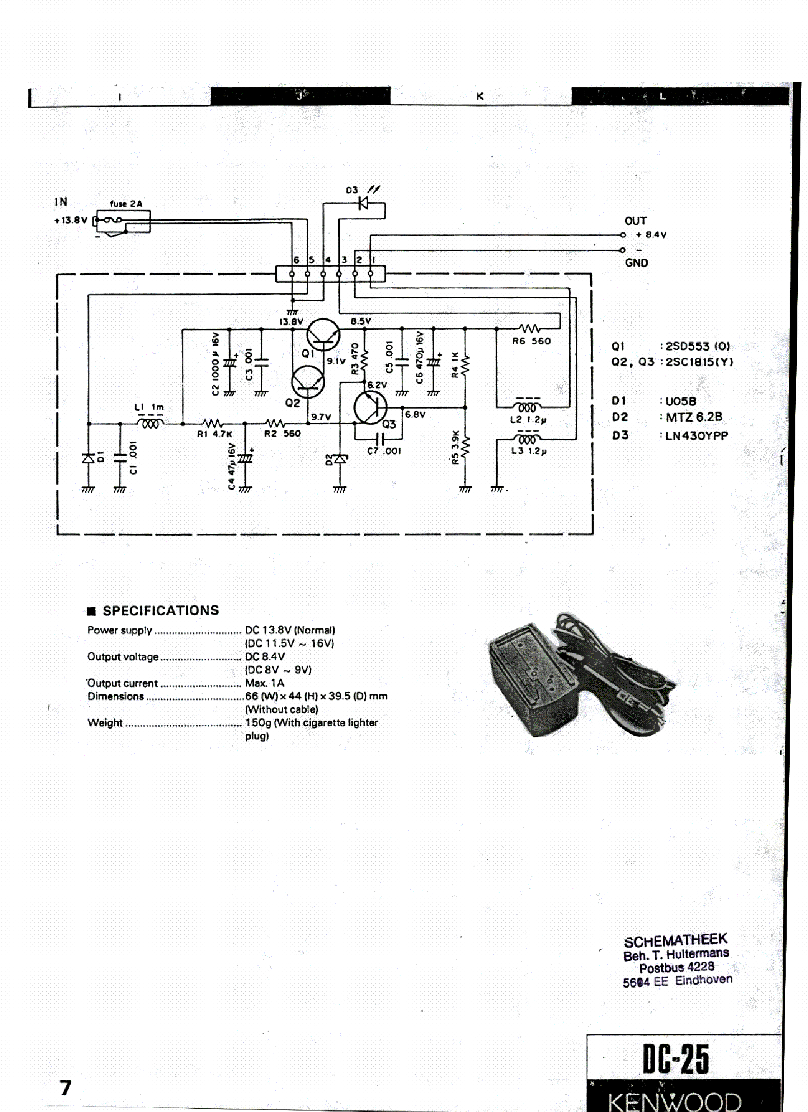 KENWOOD DC-25 POWER-SUPPLY SCH Service Manual download