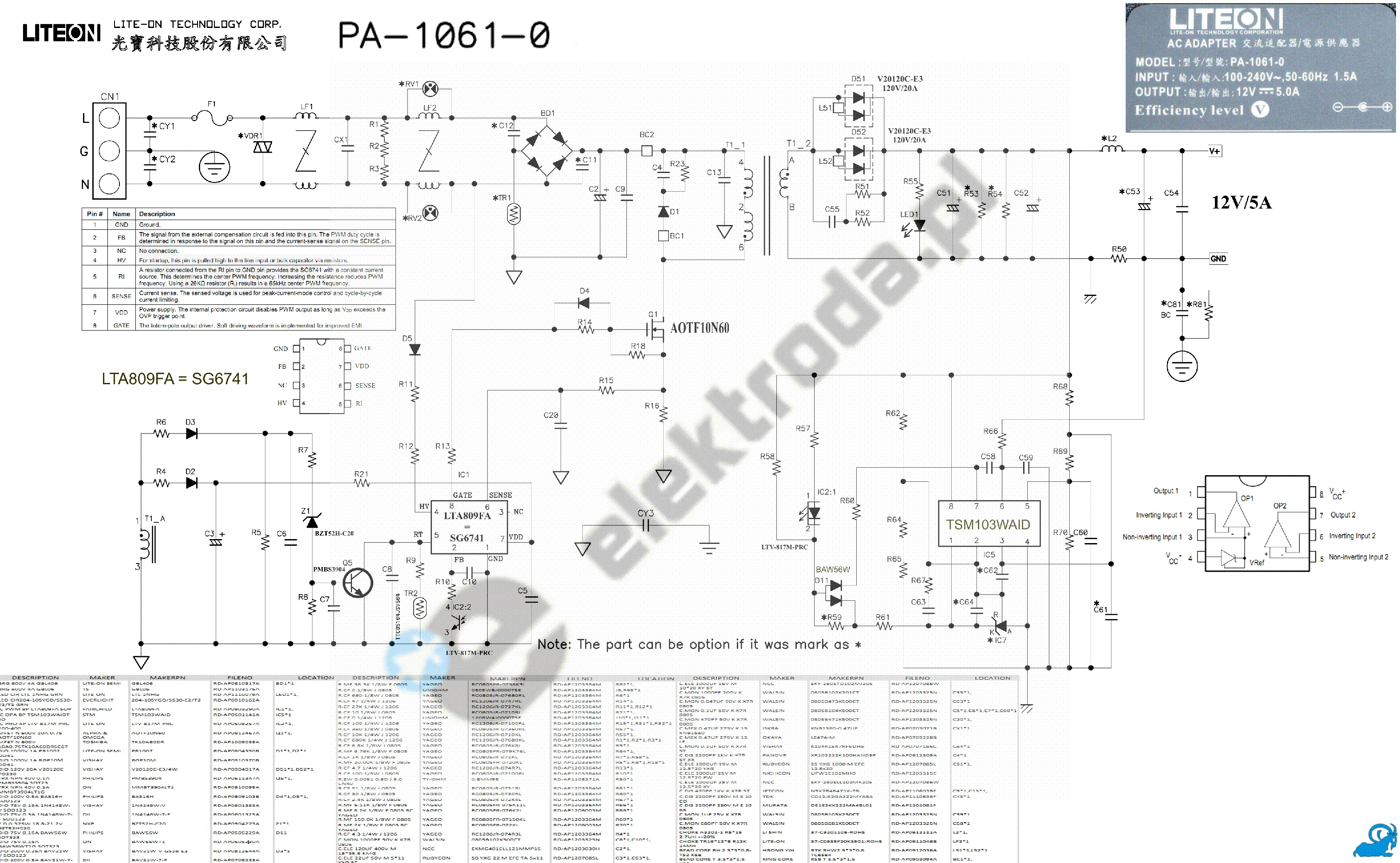 LITEON PA-1121 04 OUT POWER SCHEMATIC Service Manual