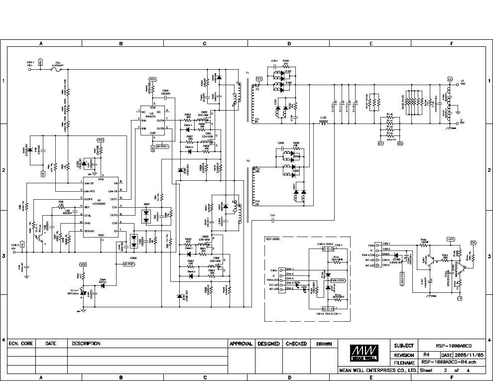 MEANWELL RSP 1000 Service Manual download, schematics