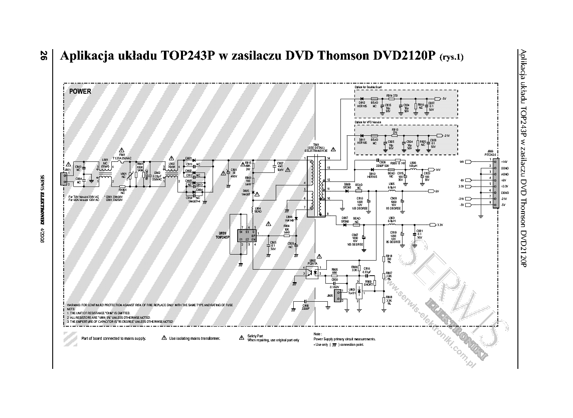 THOMSON DVD2120P POWER SCH Service Manual download